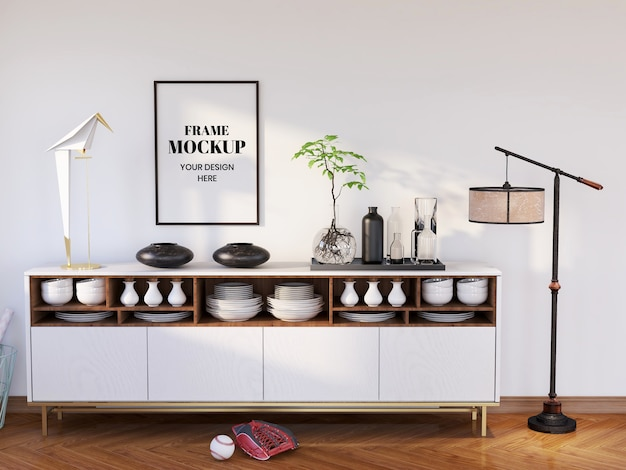 Realistyczna makieta ramki w nowoczesnej kuchni