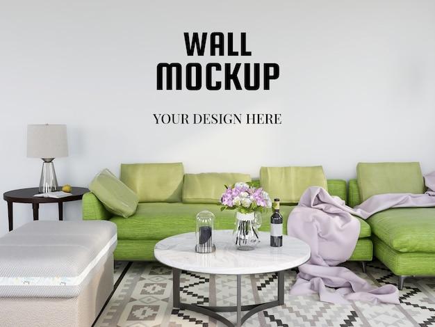 Realistyczna makieta ścienna w nowoczesnym salonie