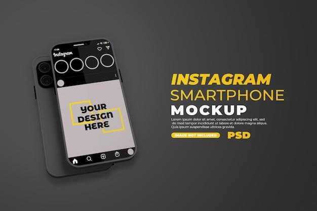 Realistyczna makieta smartfona z instagramem na białym tle