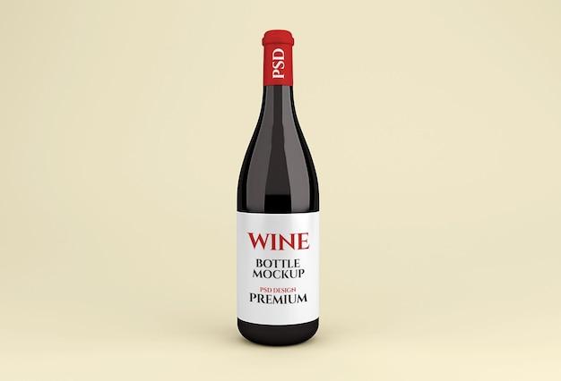 Realistyczna makieta szklanej butelki czerwonego wina