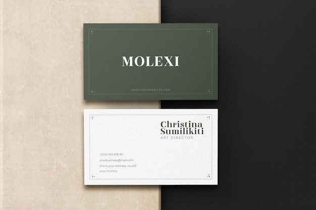 Realistyczna makieta wizytówki nowoczesnej i luksusowej minimalizmu