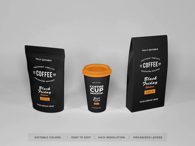 Realistyczna makieta zestawu do pakowania kawy
