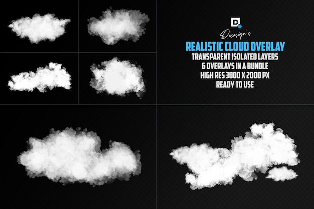 Realistyczna nakładka na chmury na białym tle