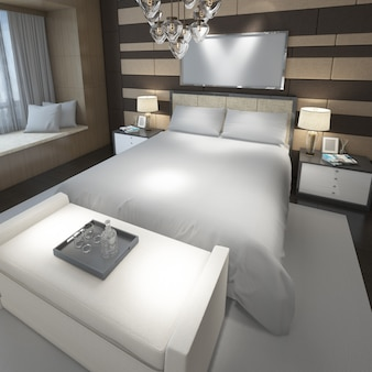 Realistyczna nowoczesna sypialnia dwuosobowa z meblami i ramą