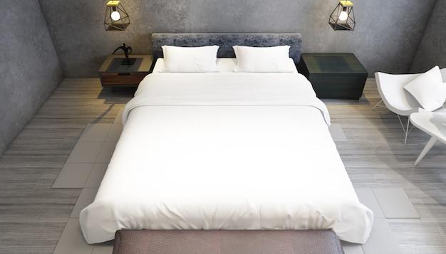 Realistyczna nowoczesna sypialnia dwuosobowa z meblami
