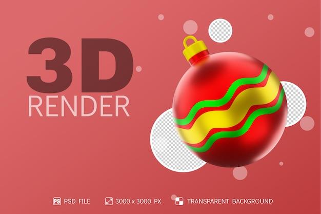 Realistyczna piłka świąteczna 3d render z falowym metalicznym kolorem zielonym, czerwonym i złotym na białym tle