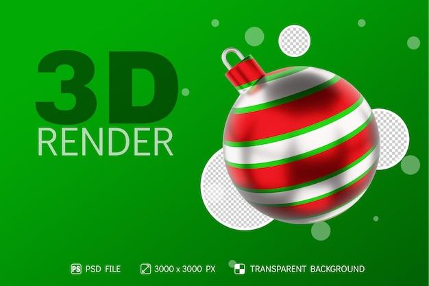 Realistyczna piłka świąteczna 3d render z okrągłym kolorem zielonym, czerwonym i białym na białym tle