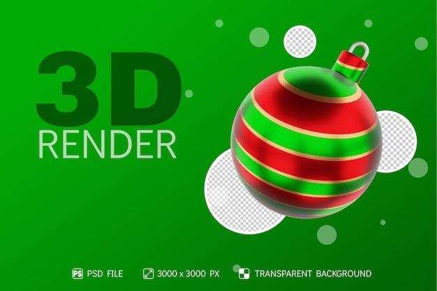 Realistyczna piłka świąteczna 3d render z okrągłym kolorem zielonym, czerwonym i złotym na białym tle