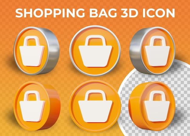 Realistyczna płaska ikona 3d torba na zakupy na białym tle
