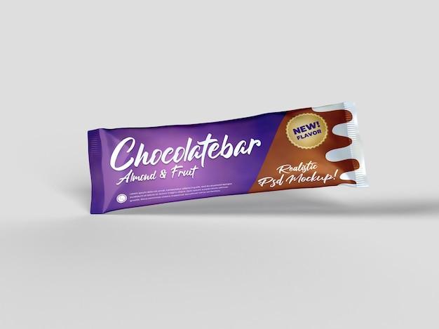 Realistyczna przekąska batonika czekoladowego błyszcząca makieta opakowania doff latający widok z boku