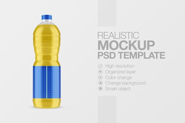 Realistyczna przezroczysta plastikowa butelka z makietą oleju