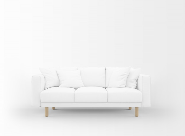 Realistyczna pusta sofa z stolikami na białym tle