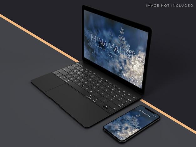 Realistyczna scena makiety laptopa i telefonu do projektowania tożsamości marki
