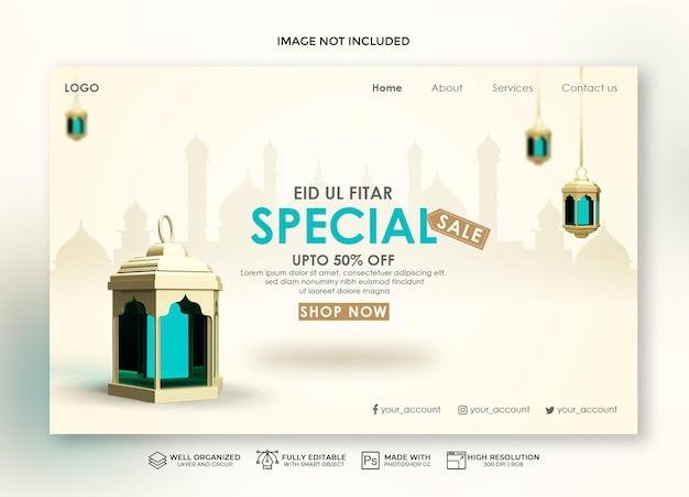 Realistyczna strona docelowa eid i baner sprzedaży z księżycem 3d