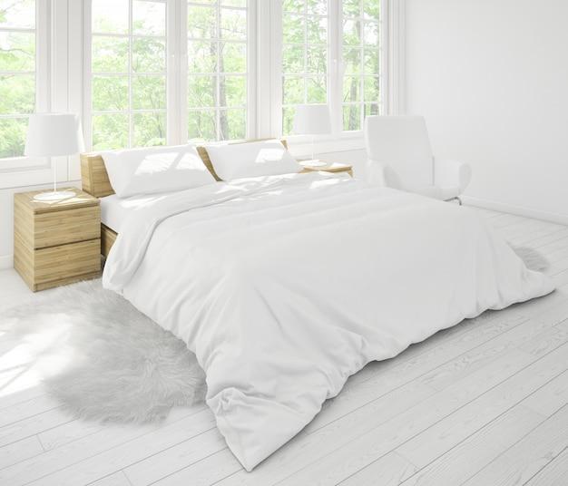 Realistyczna sypialnia z podwójnymi meblami i dużymi oknami
