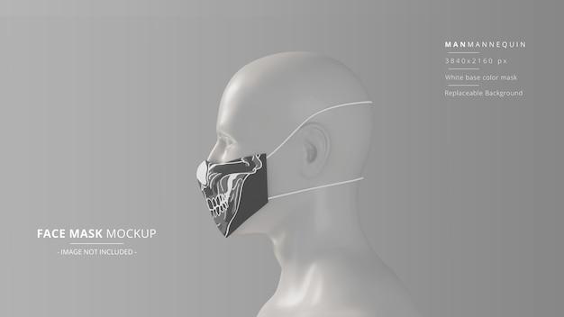Realistyczna tkanina na twarz makieta widok z lewej strony