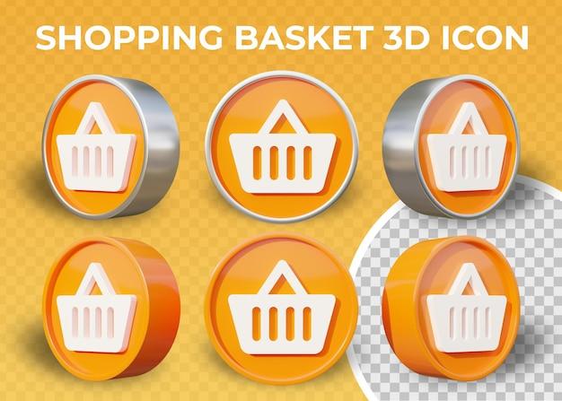 Realistyczne 3d ikona koszyka na zakupy płaskie