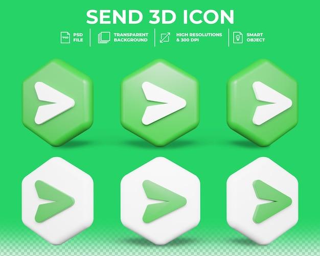 Realistyczne 3d przycisk wyślij na białym tle ikona 3d