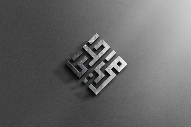 Realistyczne 3d stalowe logo makieta z szarym tle tekstury