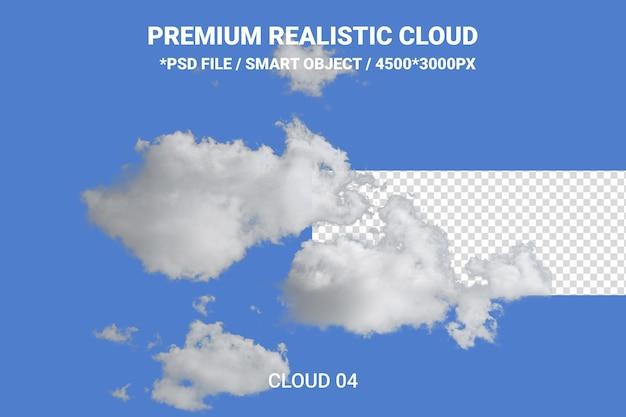 Realistyczne białe chmury renderowania projektu na białym tle