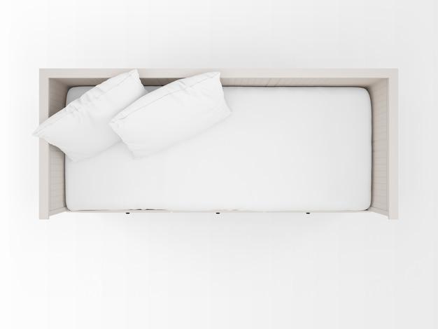 Realistyczne białe łóżko na widoku z góry