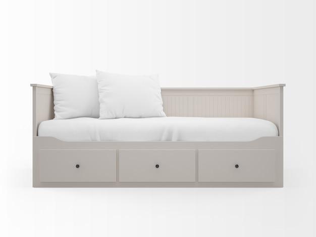 Realistyczne białe łóżko z szufladami