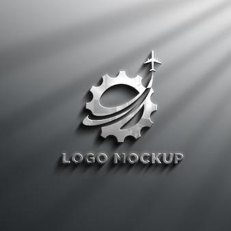 Realistyczne efekty 3d chrome logo mockup