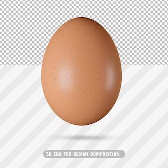 Realistyczne jajko 3d w renderowaniu 3d na białym tle