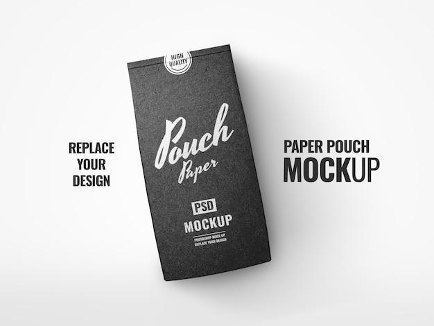 Realistyczne makieta czarnego woreczka z kawą