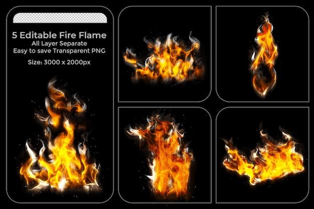 Realistyczne płomienie ognia ustawione na czarnym tle