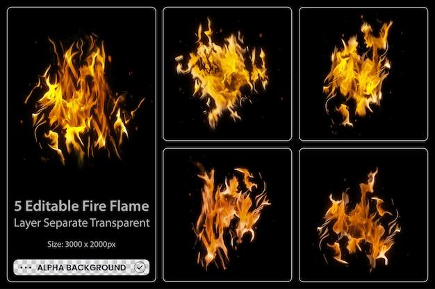 Realistyczne płonące płomienie ognia z błyszczącymi, jasnymi elementami set