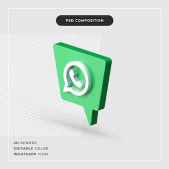 Realistyczne renderowanie 3d na białym tle logo whatsapp