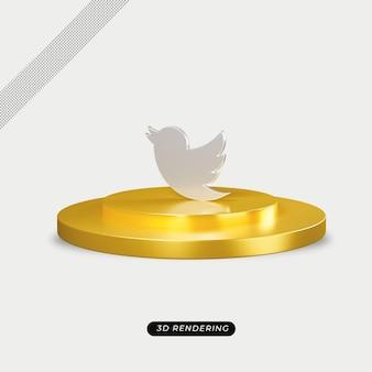 Realistyczne renderowanie 3d srebrnej ikony twitter