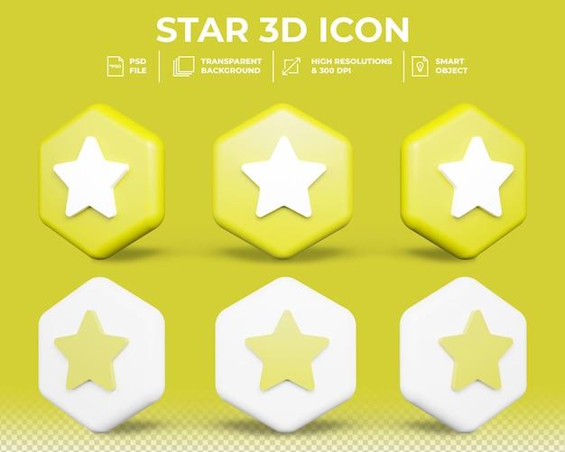 Realistyczne renderowanie 3d znak gwiazdy lub oceny
