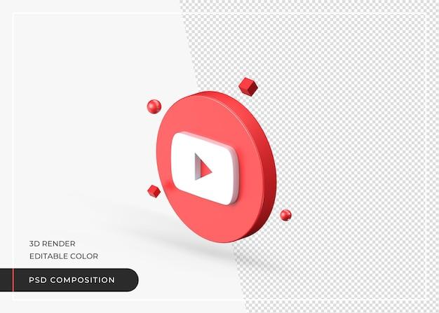 Realistyczne renderowanie ikony youtube 3d