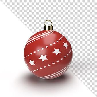 Realistyczne renderowanie piłki boże narodzenie z złoty i czerwony wzór na białym tle