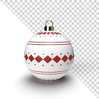 Realistyczne renderowanie piłki boże narodzenie z złoty wzór na białym tle
