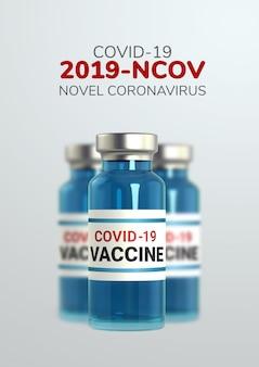 Realistyczne szklane ampułki 3d z lekiem, infekcją wirusem koronowym