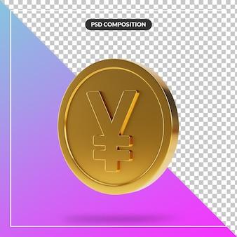 Realistyczne złote monety jena w 3d renderowania na białym tle
