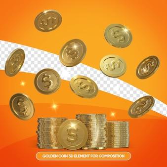 Realistyczne złote monety w 3d render na białym tle