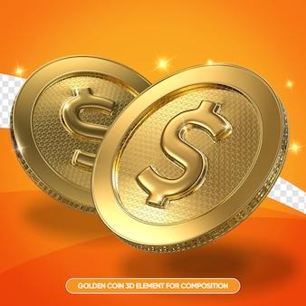 Realistyczne złote monety w 3d renderowania na białym tle