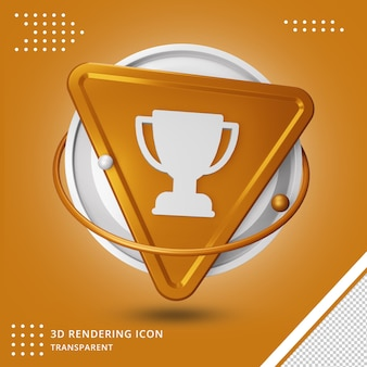 Realistyczne złote trofeum lub ikona nagrody pucharu renderowania 3d na białym tle