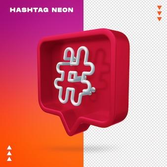 Realistyczny 3d hashtag neon