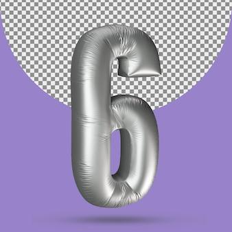 Realistyczny balon w kolorze srebrnym z liczbą 5
