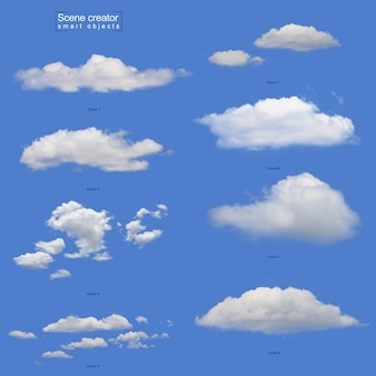 Realistyczny biały zestaw chmur