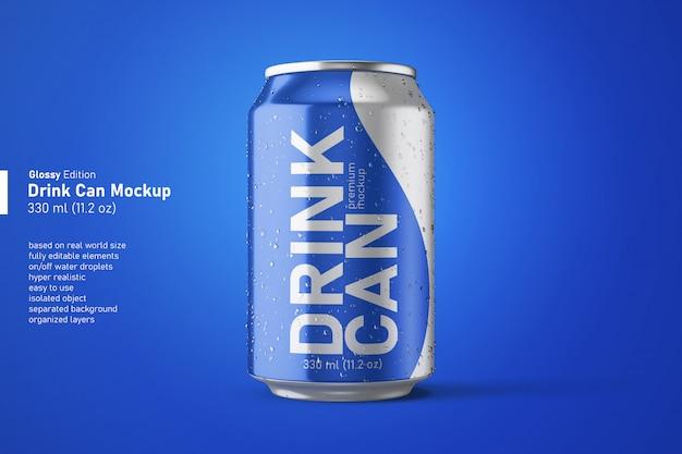 Realistyczny błyszczący napój gazowany można edytować makietę w widoku z przodu