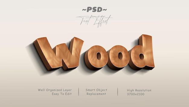 Realistyczny efekt tekstowy psd w stylu drewna