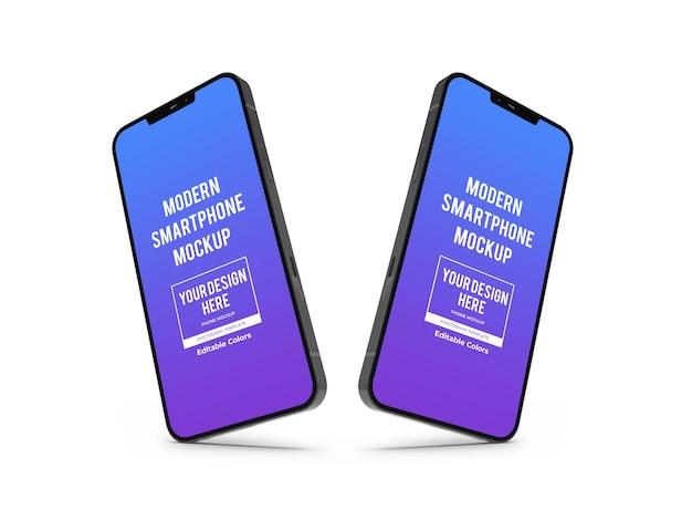 Realistyczny nowoczesny szablon makiety smartfona na białym tle