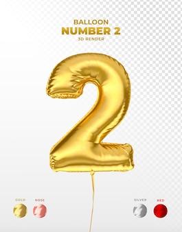 Realistyczny odcięty balon ze złotej folii z numerem 2