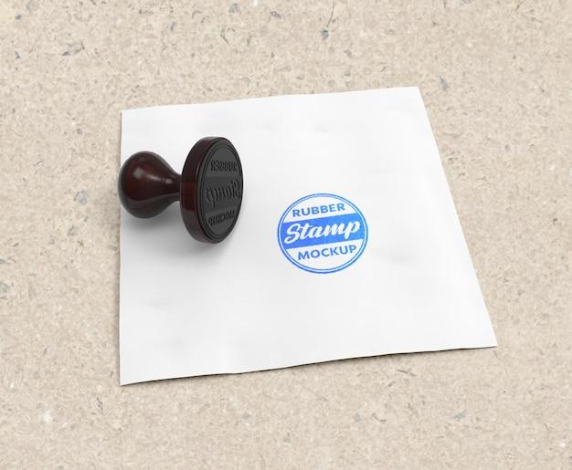 Realistyczny projekt logo makiety pieczątki lub podkładki pod pieczątki